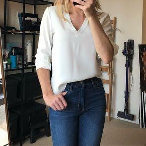 Zara stretch slim fit white silky blouse